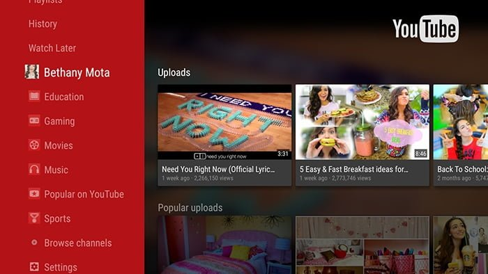 YouTube 2.0 actualiza su interfaz en Android TV